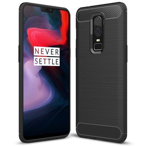 Flexi Carbon Fibre Tough Case for OnePlus 6 - Brushed Black